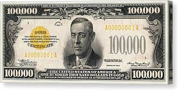 Canvas Print featuring the digital art U.s. One Hundred Thousand Dollar Bill - 1934 $100000 Usd Treasury Note  by Serge Averbukh