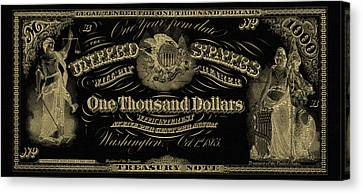 Canvas Print featuring the digital art U. S. One Thousand Dollar Bill - 1863 $1000 Usd Treasury Note In Gold On Black by Serge Averbukh
