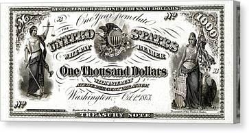 Canvas Print featuring the digital art U.s. One Thousand Dollar Bill - 1863 $1000 Usd Treasury Note by Serge Averbukh