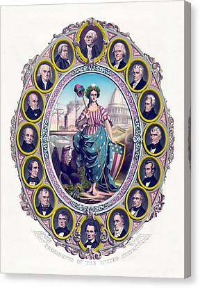 President Adams Canvas Print - Us Presidents And Lady Liberty  by War Is Hell Store
