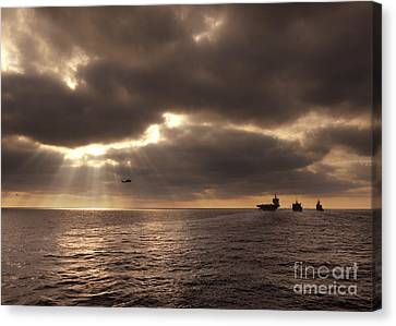 U.s. Ships Participate In An Replenishment At Sea Canvas Print by Celestial Images