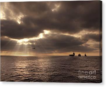 U.s. Ships Participate In An Replenishment At Sea Canvas Print