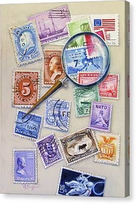 U.s. Stamp Collection Canvas Print by Oz Freedgood