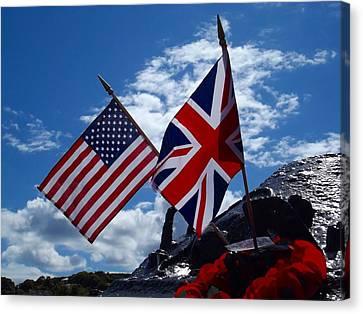 Usa And Uk Flags On A War Memorial - Torcross, Devon Canvas Print