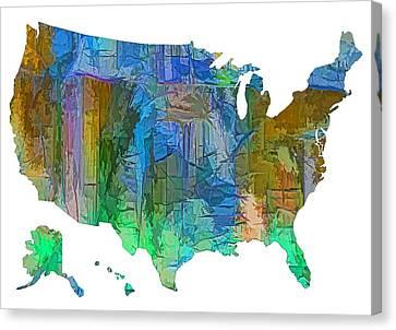 Usa - Colorful Map Canvas Print by Lena  Owens OLena Art