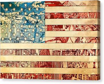 Usa Flag 2 Canvas Print by Bekim Art
