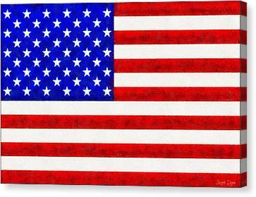 4th July Canvas Print - Usa Flag  - Fine Wax Style -  - Da by Leonardo Digenio