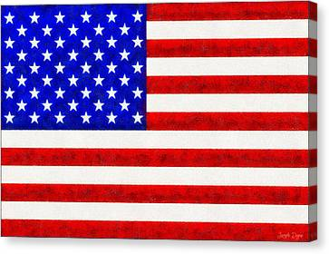 Liberty Canvas Print - Usa Flag  - Fine Wax Style -  - Pa by Leonardo Digenio