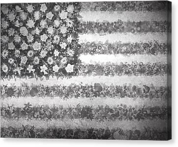 Usa Flag Floral 2 Canvas Print by Bekim Art