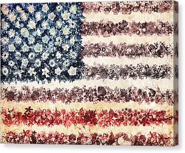 Stars And Stripes Canvas Print - Usa Flag Floral 3 by Bekim Art