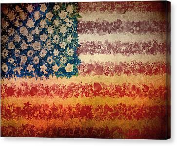 Usa Flag Floral 4 Canvas Print by Bekim Art