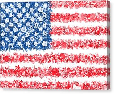 Usa Flag Floral Canvas Print by Bekim Art
