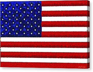 Liberty Canvas Print - Usa Flag  - Gemstone Painting Style -  - Da by Leonardo Digenio