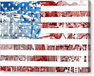 Usa Flag Canvas Print by Bekim Art
