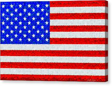 Usa Flag  - Palette Knife Style -  - Da Canvas Print by Leonardo Digenio