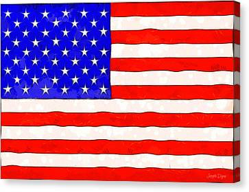Patriotism Canvas Print - Usa Flag  - Van Gogh Style -  - Da by Leonardo Digenio