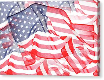 Usa Flags Canvas Print by Les Cunliffe