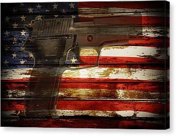 Usa Handgun Canvas Print by Les Cunliffe