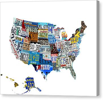 Usa License Plates Map 4p Canvas Print