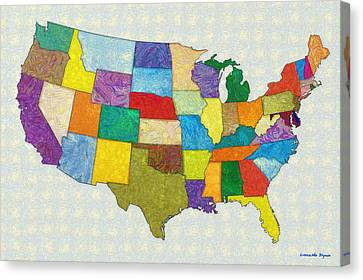 Usa Map - Da Canvas Print by Leonardo Digenio