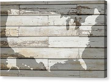Usa Map Of America Outline On White Barn Wood Planks Canvas Print by Design Turnpike