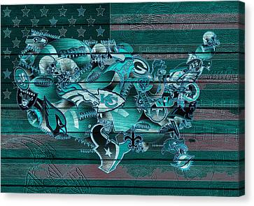 Usa Nfl Map Collage 3 Canvas Print by Bekim Art