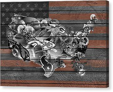 Usa Nfl Map Collage 4 Canvas Print by Bekim Art