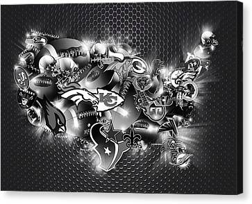 Usa Nfl Map Collage 7 Canvas Print by Bekim Art