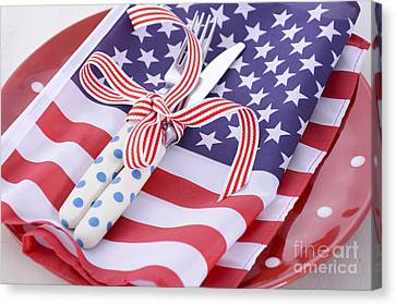 American Independance Canvas Print - Usa Party Table Place Setting With Flag On White Wood Table.  by Milleflore Images