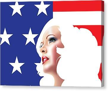 Usa Pin Up Girl Canvas Print by Brian Gibbs