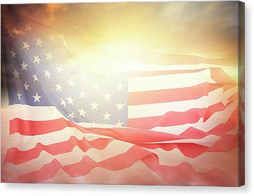 Usa Sky Flag Canvas Print by Les Cunliffe