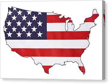 Independance Canvas Print - Usa Stars And Stripes Flag Within Outline Of Usa Map. by Milleflore Images