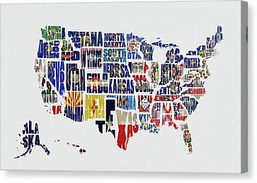 Usa Typography Map Flag Canvas Print by Kevin O'Hare