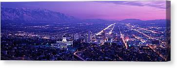 Usa, Utah, Salt Lake City, Aerial, Night Canvas Print by Panoramic Images