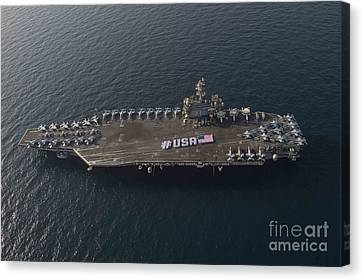 Usa With The American Flag On The Flight Deck Canvas Print