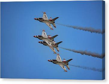 Canvas Print featuring the photograph Usaf Thunderbirds by Rick Berk