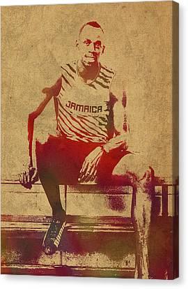 Sprinter Canvas Print - Usain Bolt Sprinter Jamaica Olympics Watercolor Portrait by Design Turnpike