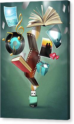 Canvas Print featuring the digital art Usb Flash Drive 2.0 by Carlos Caetano