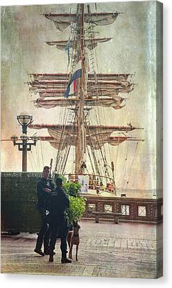 Canvas Print featuring the photograph Uscg Watching Over Boston Harbor by Joann Vitali