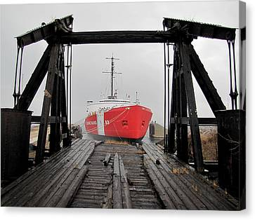 Uscgc Mackinaw Framed By Railroad Elevator Canvas Print by Keith Stokes