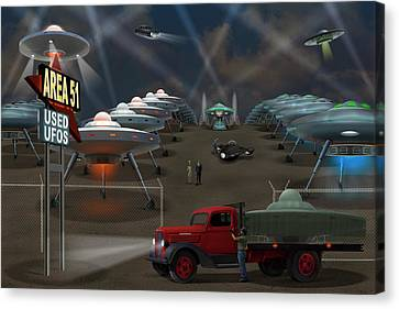 Area 51 Used U F O S Canvas Print by Mike McGlothlen