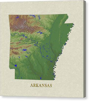 Usgs Map Of Arkansas Canvas Print by Elaine Plesser