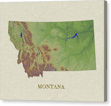 Usgs Map Of Montana Canvas Print by Elaine Plesser