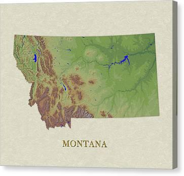 Usgs Map Of Montana Canvas Print