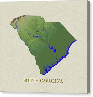 Usgs Map Of South Carolina Canvas Print by Elaine Plesser