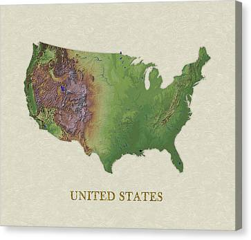 Usgs Map Of United States Canvas Print by Elaine Plesser