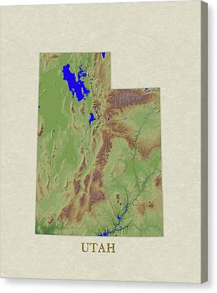 Usgs Map Of Utah Canvas Print by Elaine Plesser