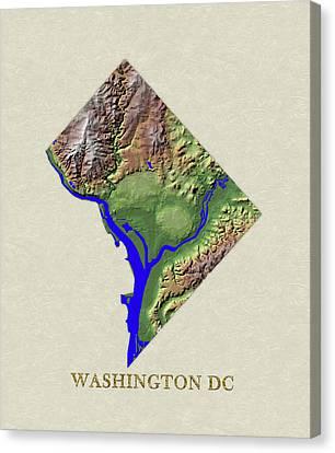 Usgs Map Of Washington Dc Canvas Print by Elaine Plesser