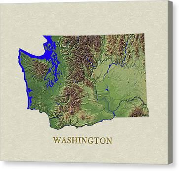 Usgs Map Of Washington Canvas Print by Elaine Plesser