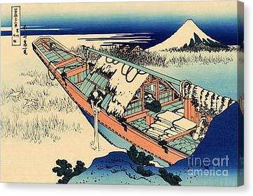 Stork Canvas Print - Ushibori In The Hitachi Province by Hokusai